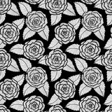 Beautiful Seamless Black And White Pattern In Roses And Leaves Lace. Hand-drawn Contour Lines And Strokes. Stock Photo