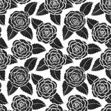Beautiful seamless black and white pattern in roses and leaves lace. Stock Images