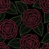 Beautiful seamless black and white pattern in roses and leaves lace. Stock Photography