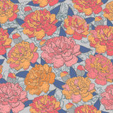 Beautiful Seamless blooming peony pattern on blue background,  illustration.  Royalty Free Stock Image