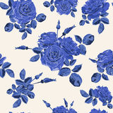 Beautiful seamless blue roses pattern on light background Royalty Free Stock Photos