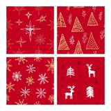Beautiful seamless Christmas and winter patterns, drawn by hand. Many festive elements and patterns. Vector graphics and illustration vector illustration
