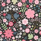 Beautiful seamless ditsy pattern with pink flowers on black background. Fashion design. Vector illustration vector illustration