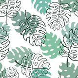 Beautiful seamless doodle pattern with vintage monstera leaves sketch. design for holiday greeting card and invitation of seasonal vector illustration