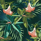 Beautiful seamless floral pattern background with exotic dark and bright ficus elastica, palm leaves and lilies flowers. Perfect for wallpapers, web page royalty free illustration