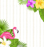 Beautiful seamless floral pattern background with pink flamingo, tropical flowers and plants Stock Image
