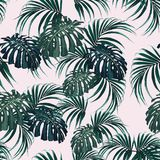 Beautiful seamless floral pattern background with tropical palm leaves. Perfect for wallpapers, web page backgrounds, surface textures, textile. Light pink royalty free illustration