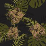 Beautiful seamless floral pattern background with tropical plants. Perfect for wallpapers, web page backgrounds, surface textures, textile. Black background royalty free illustration