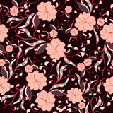 Beautiful seamless floral pattern in bright pink and burgundy tones. Royalty Free Stock Image