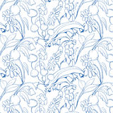 Beautiful seamless floral pattern. Flower vector background Stock Photos