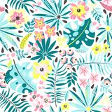 Seamless pattern with exotic plants royalty free illustration