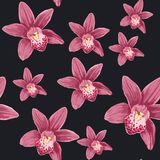 Beautiful seamless floral summer pattern background with tropical orchid flowers. vector illustration