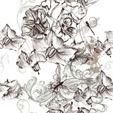 Beautiful seamless floral wallpaper pattern with flowers Royalty Free Stock Image