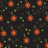 Beautiful Seamless Flower Pattern. In Orange, Green and Black. Vector Format vector illustration