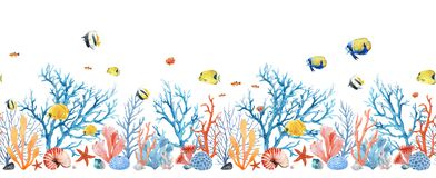 Beautiful seamless horizontal underwater pattern with watercolor sea life colorful corals and fish. Stock illustration.