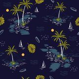 Beautiful seamless island pattern on dark blue background. Lands. Cape with palm trees,beach and ocean vector hand drawn style Stock Photography
