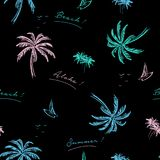 Beautiful Seamless Island Pattern On Black Background. Landscape Royalty Free Stock Photo