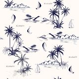 Beautiful seamless island pattern on white background. Landscape. With palm trees,beach and ocean vector hand drawn style Stock Photo