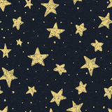Beautiful seamless night sky pattern with textured stars, hand drawn.  Royalty Free Stock Photos
