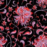 Seamless pattern with  gray  and red flowers. Beautiful seamless oriental pattern with  decorative gray and red flowers on a black background for design, colored Royalty Free Stock Photo