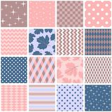 Beautiful seamless patchwork in pink, blue and brown colors. Square patterns with leaves, stars, polka dot, zigzag and rhombus. In shabby chic style. Vector stock illustration