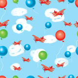 Beautiful seamless  pattern with air balloons and airplanes Royalty Free Stock Photos