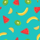 Beautiful seamless pattern with bananas and pieces of orange, kiwi, watermelon on blue background. Backdrop with juicy stock illustration