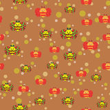 Beautiful seamless pattern with bees and colored balls Royalty Free Stock Images