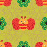 Beautiful seamless  pattern with bees and different flowers. Royalty Free Stock Photo