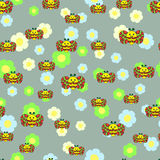 Beautiful seamless pattern with bees,  flowers. Stock Image