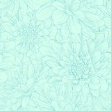 Beautiful seamless pattern with blue dahlia flowers. Royalty Free Stock Image
