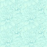 Beautiful seamless pattern with blue dahlia flowers. Stock Photo