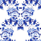 Beautiful seamless pattern with blue flowers gzhel style. Royalty Free Stock Photo
