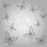 Beautiful seamless pattern with butterflies of abstract striped background.� Royalty Free Stock Photos