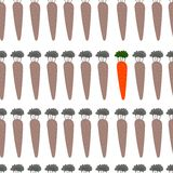 Beautiful seamless pattern with carrots in . Cute backgrou. Nd in monotone colors with color accent.Seamless pattern can be used for wallpapers, pattern fills Royalty Free Stock Images