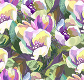Beautiful seamless pattern of colored flowers Stock Images