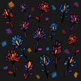 Beautiful seamless pattern with colorful flowers on a dark gray background. Bright illustration, can be used for. Wrapping paper, invitation card for wedding vector illustration