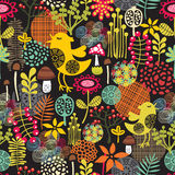 Beautiful seamless pattern with cute birds. Stock Image