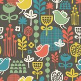 Beautiful seamless pattern with cute birds. Royalty Free Stock Photos