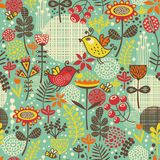 Beautiful seamless pattern with cute birds. Royalty Free Stock Images