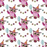 Beautiful seamless pattern of cute colorful cartoon owl with blue balloon Royalty Free Stock Photos