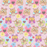 Beautiful seamless pattern with cute owls Royalty Free Stock Photo