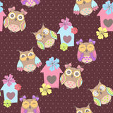 Beautiful seamless pattern with cute owls Royalty Free Stock Photography