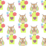 Beautiful seamless pattern with cute owls and birdhouse Stock Photo