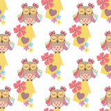Beautiful seamless pattern with cute owls and birdhouse Royalty Free Stock Photography