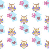 Beautiful seamless pattern with cute owls and birdhouse Stock Photos
