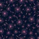 Beautiful seamless pattern with dandelion fluff. Beautiful background seamless pattern black with pink dandelion fluff. Elegant stylish trendy wallpaper. Vector Royalty Free Stock Photos
