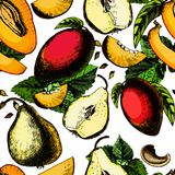 Beautiful seamless pattern with exotic fruits Royalty Free Stock Photos
