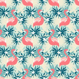 Beautiful seamless pattern with flamingo and tropical plants Stock Photo