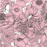 Beautiful seamless pattern with a floral elements of vintage garden. Royalty Free Stock Photography